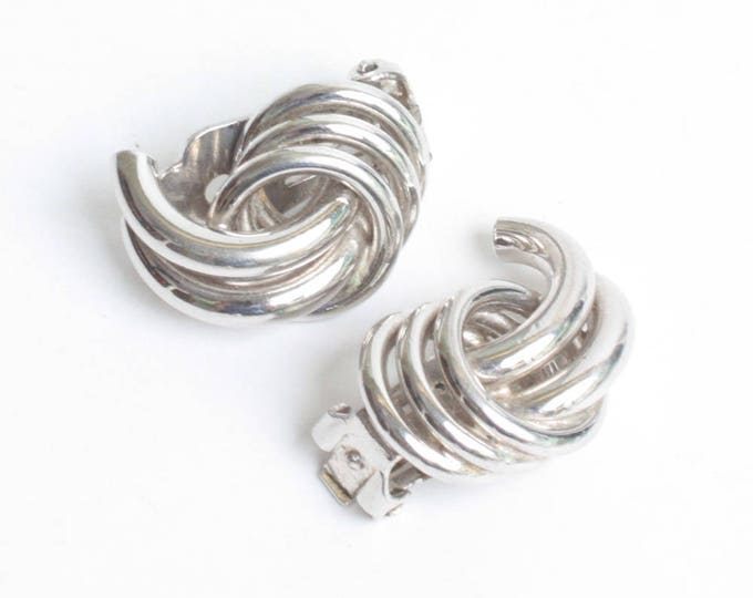 Swirled Dimensional Earrings Silver Tone Bergere Designer Vintage