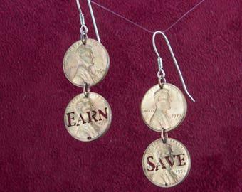 CLEARANCE-Penny Saved, Penny Earned Cut Pennies Dangle Earrings