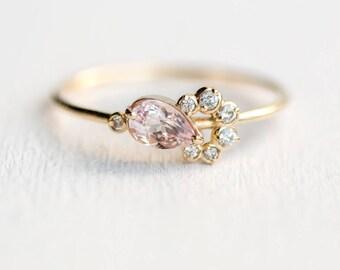 Shortcake Ring // Pear Morganite Yellow Gold Ring / Morganite and white diamond cluster ring in 14k yellow gold