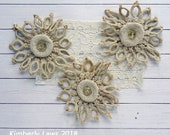 up-cycled vintage crochet flower embellishments - set of 3 - NO121
