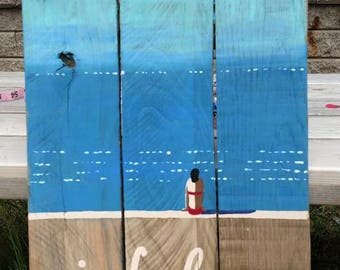 Inhale exhale hand painted sign art on pallet wood relax beach zen