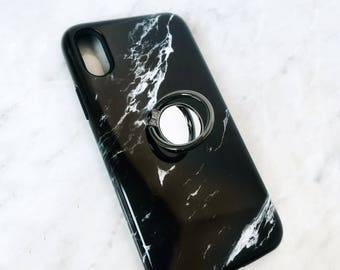 Phone Ring - Black Marble Case Set, iPhone and Samsung Galaxy Phone Stand Finger Ring Holder
