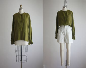 moss silk blouse