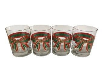Vintage Set of 4 Holiday Bow Glasses / Plaid / Christmas