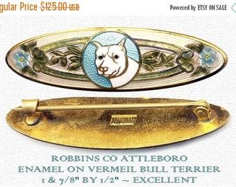 OH BOY SALE Brooch--Small Early 20th C. Champleve Enamel White Bull Terrier--Housebroken