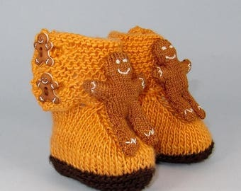 50% OFF SALE Instant Digital pdf download knitting pattern- Baby Gingerbread Man Booties (Bootees) knitting pattern pdf download by madmonke