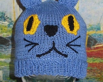 40% OFF SALE Digital file pdf download knitting pattern madmonkeyknits blue cat beanie animal hat pdf knitting pattern