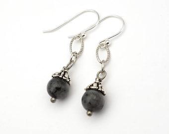 "Silver, black and grey earrings, Norwegian moonstone beads, French hooks, dangle, 1 11/16"" long"