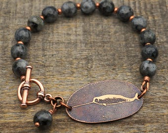 Copper narwhal bracelet, faceted Norwegian moonstone beads, etched unicorn of the sea jewelry, 8 inches long