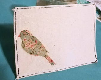 Handmade Canvas Sewn Envelope with Vintage-Look Bird Image Shabby Chic