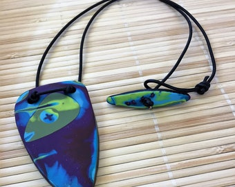 Tribal Style Necklace - Rustic Pendant for Man or Woman -  Handcrafted Clay and Leather Jewelry