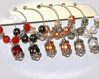 Swarovski Crystal Pearl Wine Charms. Multi-Color Jewel Tone Pearls