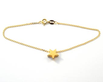 Gold plated sterling silver bracelet with star
