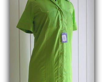 Vintage Mod Green Button Down Pin Tuck Shirt Waist Dress with original tags