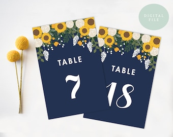 PRINTABLE Wedding Table Numbers 1-20  // Floral Table Numbers // Vintage // Sunflower Table Numbers // Seating Chart // INSTANT DOWNLOAD