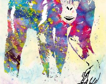 MONKEY art africa animals gorilla ape wall decor wall art natur hairdresser illustration art poster