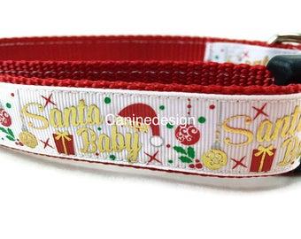 Dog Collar, Santa Baby, 1 inch wide, adjustable, quick release, medium, 13-19 inches