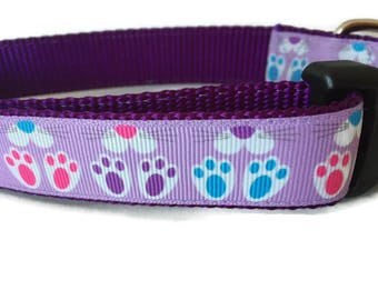 Easter Dog Collar, Bunny Feet, 1 inch wide, adjustable, quick release, metal buckle, chain, martingale, hybrid, nylon