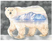 """Polar Bear Christmas Card - """"Nanuq. The ever-wandering one"""""""