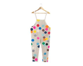 Colorful Confetti Overalls - Colorful Jumpsuit, Oversized Simple Romper, Vintage Harem Pants in Cream and Rainbow Polka Dot - Size S-5XL