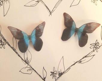 Blue Black Silk Butterfly Clips