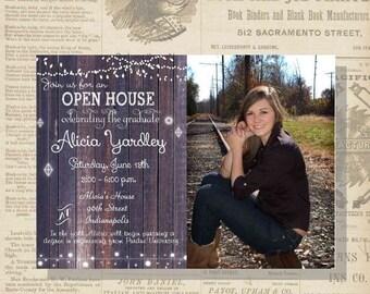 ON SALE Digital Rustic Lights Photo Graduation Party Invitation Printable
