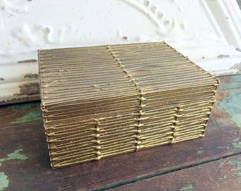 Vintage Gold Gilt Paper Mache' Box wth Lid