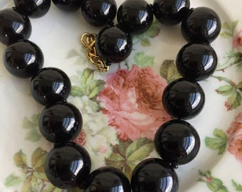 Vintage Large Beaded Black Monet Statement choker Necklace