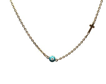 Evil eye cross necklace  -  turquoise - gold plated stainless steel - protection - Greek jewelry - Gift for her
