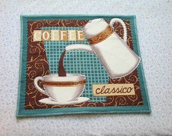 blue coffee pot and coffee cup hand quilted center piece, wall hanging    you decide its use!
