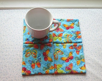 MARKED DOWN was 10 NOW 6 blue butterflies hand quilted set of mug rugs coasters