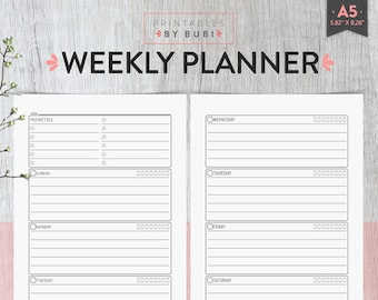 A5 Weekly Planner, Weekly Organizer, A5 Printable Weekly Organiser, A5 Printable Organizer, A5 Planner Insert Instant Download Wo2p