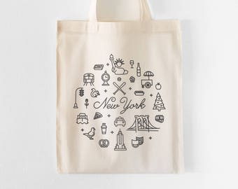 New York Tote Bag | Farmers Market Tote | Grocery Bag | Shopping Bag | Gift for Her