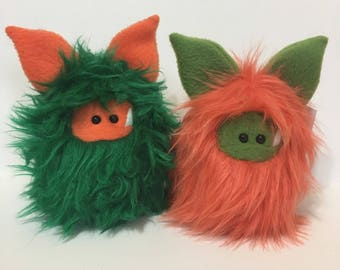 Peas and Carrots - Plush Monster Stuffed Toy - Monster Softie - Fuzzling - Couples Gift - Cute Plush Animal - Handmade Toy - Cute Gift Idea
