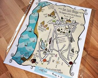 San Luis Obispo City Map Art Print