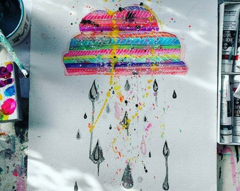 Diamond RAIN - abstract  Rainbow Print ! Available in two sizes
