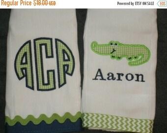 ON SALE Personalized Alligator Burp cloth Set of 2 MONOGRAM Burpies