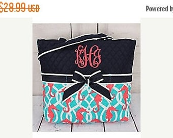 ON SALE Personalized Quilted Seahorse Diaper Bag 3 pc set with Changing Pad and Zipper Bag - Monogram Diaperbag