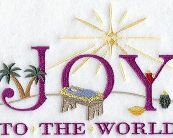 JOY TO The WORLD Embroidery #2 on Ladies' Tee or Sweat by Rosemary
