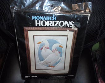 Monarch Horizons Cross Stitch Kit Take A Gander Candlewicking Designed by Roger W. Reinardy Size: 11 inches X 14 inches.
