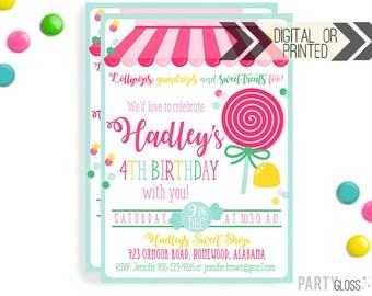 Sweet Shop Birthday Party Invitation | Digital or Printed | Sweet Shoppe Invite | Lollipop Invitation | Sweet Shop Decorations | Lollipop