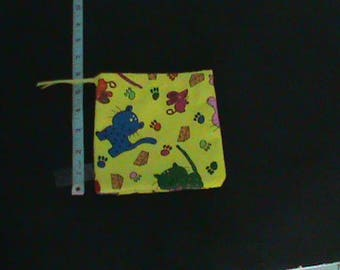 Cat Mouse Cheese Paw Prints on Bright Yellow Drawstring Pouch