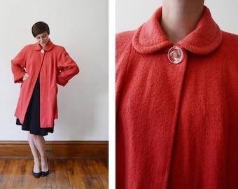 1940s/1950s Coral Wool Swing Coat - M