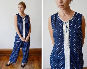 1960s Blue and White Pajamas - M