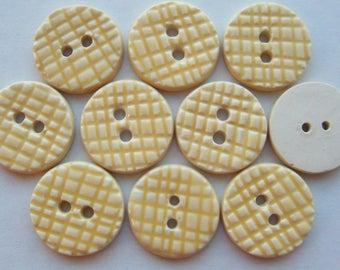 Yellow Grid Ceramic Buttons - 1 inch x YOU PICK QUANTITY - 2 thru 35