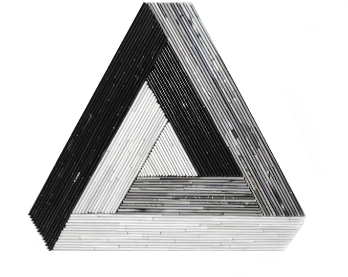 Featured listing image: Penrose Triangle - Modern wall art - made from recycled magazines, triangle, black, white, grey, sculpture, depth, movement, geometric