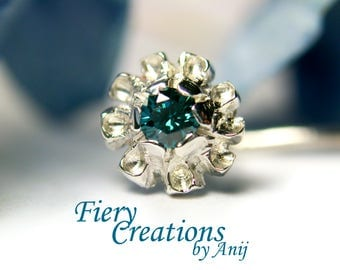 """Nose Screw / Tragus stud  """"Alaskan Blossom"""" - Sterling Silver with a Blue Diamond, OOAK"""