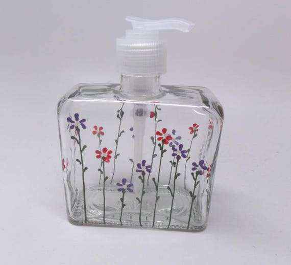 Soap Dispenser Hand Painted with Red and Purple flowers