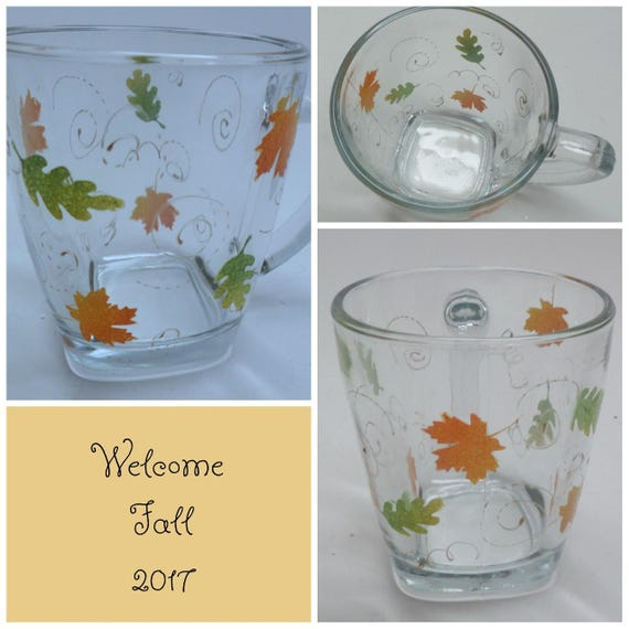 Hand Painted Fall Coffee or Tea Mugs with leaves and gold swirls