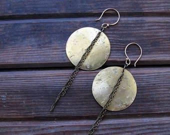 ON SALE Full Moon Eclipse - Textured Brass Circle Moon Earrings - Artisan Metalwork Earrings